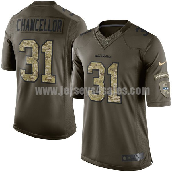 Youth Seattle Seahawks #31 Kam Chancellor Green Stitched Nike NFL Salute To Service Elite Jersey