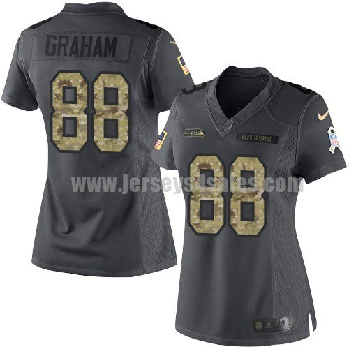 Women's Seattle Seahawks #88 Jimmy Graham Anthracite Stitched Nike NFL 2016 Salute To Service Limited Jersey