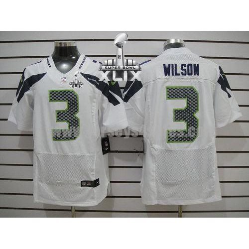 Nike Seahawks #3 Russell Wilson White Super Bowl XLIX Men's Stitched NFL Elite Jersey