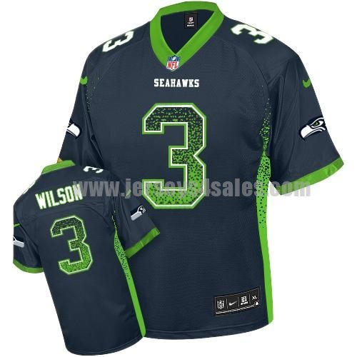 Nike Seahawks #3 Russell Wilson Steel Blue Team Color Men's Stitched NFL Elite Drift Fashion Jersey