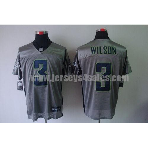 Nike Seahawks #3 Russell Wilson Grey Shadow Men's Stitched NFL Elite Jersey