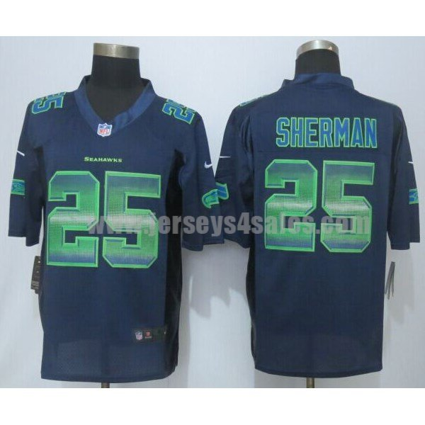Men's Seattle Seahawks #25 Richard Sherman Navy Blue Team Color Stitched Strobe Nike NFL Limited Jersey