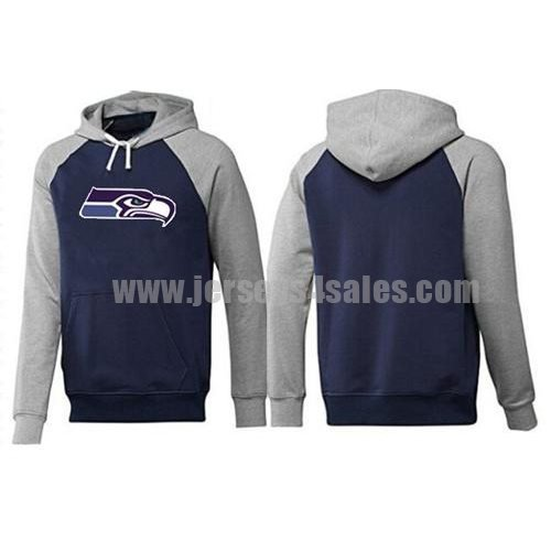 Seattle Seahawks Logo Pullover Hoodie Dark Blue & Grey