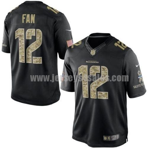 Nike Seahawks #12 Fan Black Men's Stitched NFL Limited Salute to Service Jersey