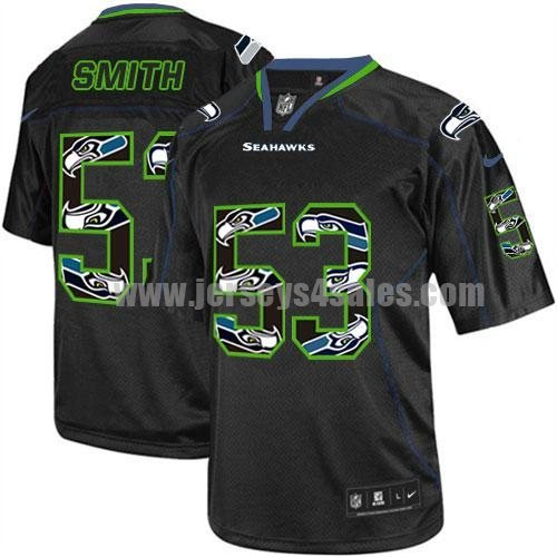 Nike Seahawks #53 Malcolm Smith New Lights Out Black Men's Stitched NFL Elite Jersey
