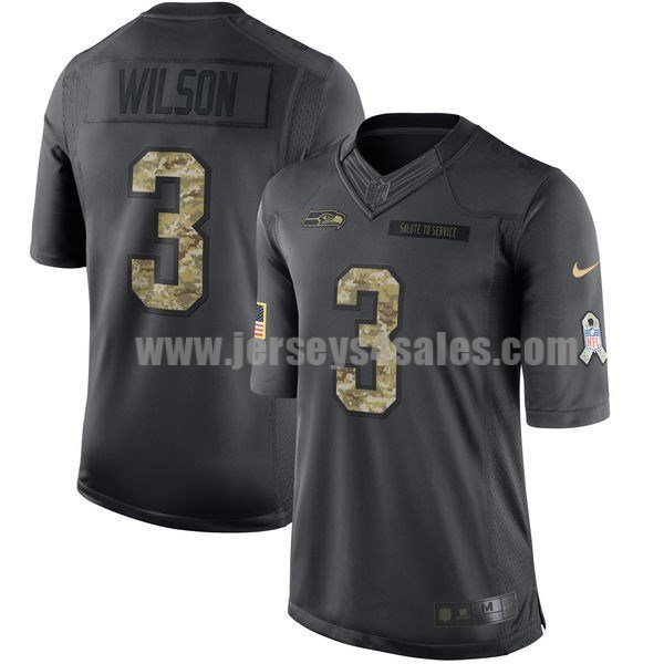 Men's Seattle Seahawks #3 Russell Wilson Anthracite Stitched Nike NFL 2016 Salute To Service Limited Jersey