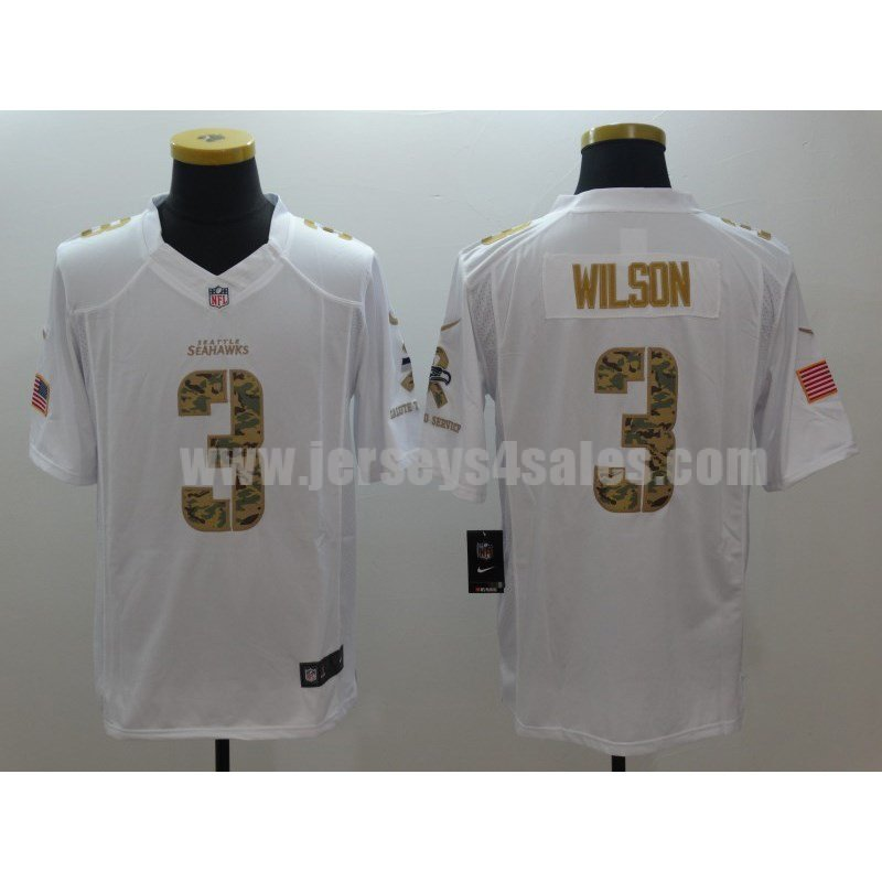 Men's Seattle Seahawks #3 Russell Wilson White Stitched Nike NFL Salute To Service Limited Jersey