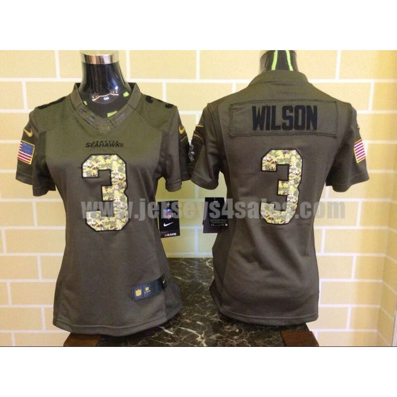 Women's Seattle Seahawks #3 Russell Wilson Green Stitched Nike NFL Salute To Service Limited Jersey