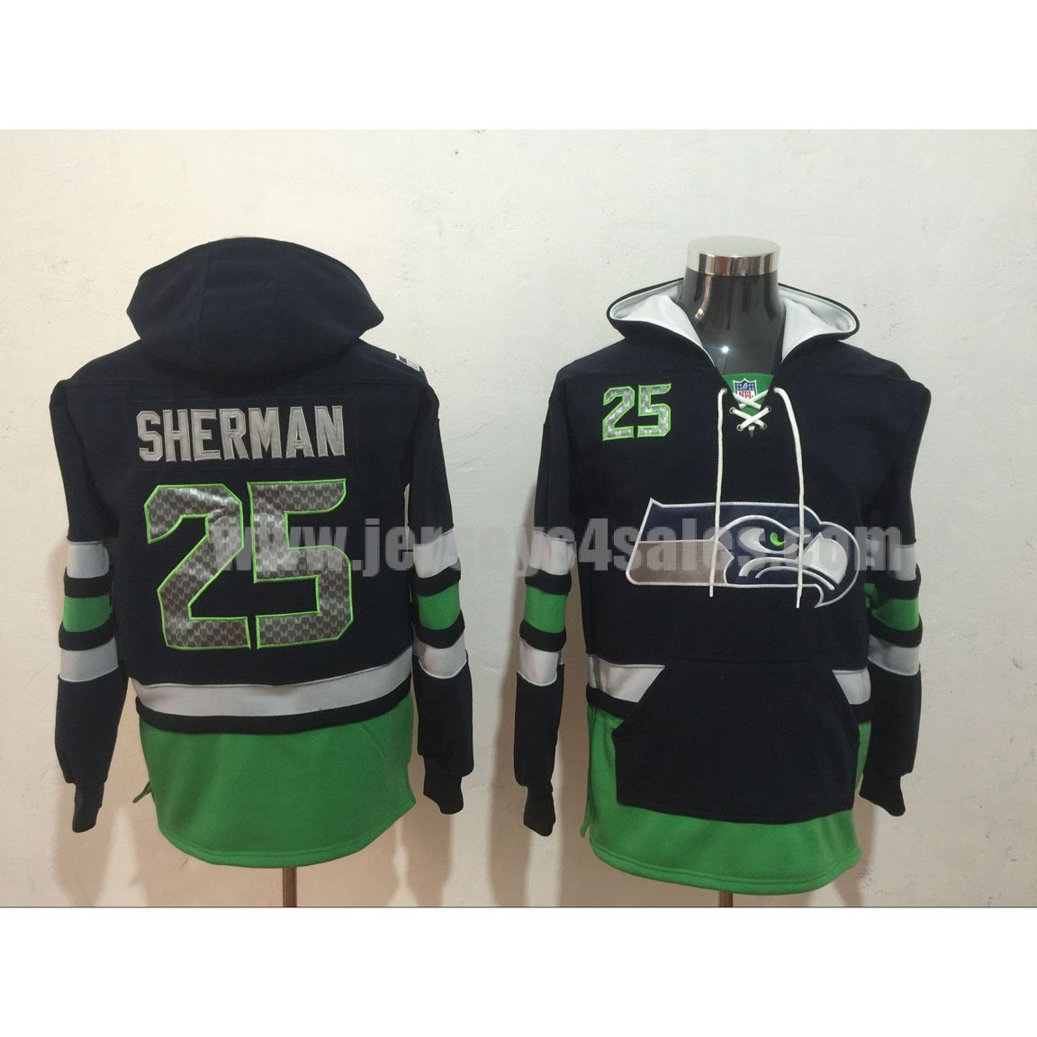 Men's Seattle Seahawks #25 Richard Sherman Navy Blue Lacer Heavyweight Pullover NFL Hoodie