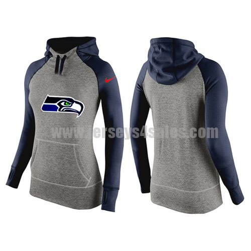 Women's New Orleans Saints Grey/Navy Blue Big Logo All Time Performance NFL Hoodie