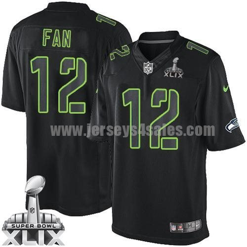 Nike Seahawks #12 Fan Black Super Bowl XLIX Men's Stitched NFL Impact Limited Jersey