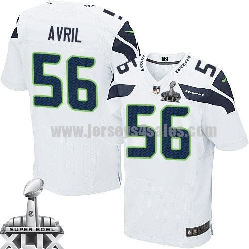 Nike Seahawks #56 Cliff Avril White Super Bowl XLIX Men's Stitched NFL Elite Jersey