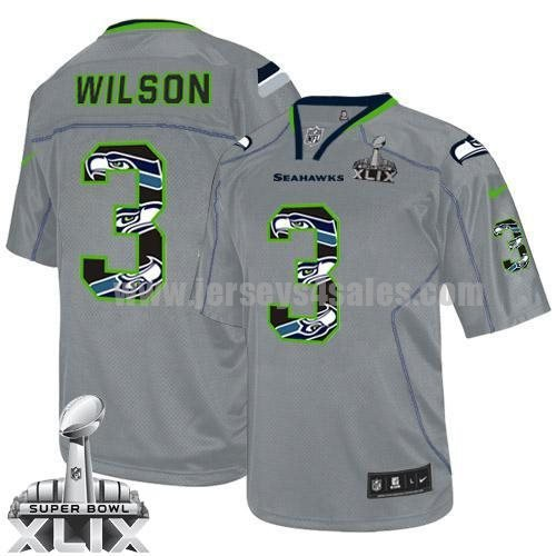 Nike Seahawks #3 Russell Wilson New Lights Out Grey Super Bowl XLIX Men's Stitched NFL Elite Jersey