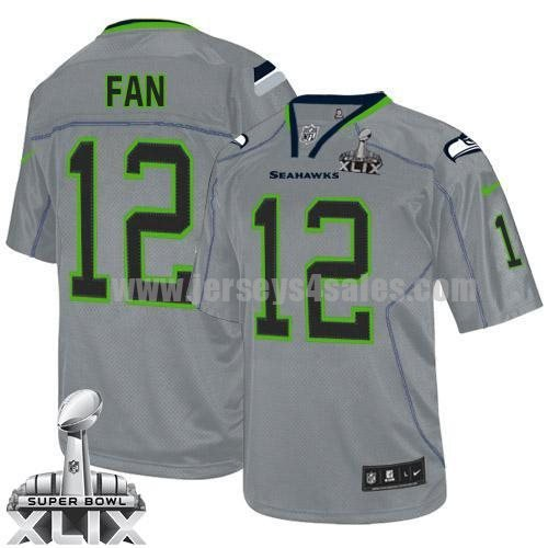 Nike Seahawks #12 Fan Lights Out Grey Super Bowl XLIX Men's Stitched NFL Elite Jersey