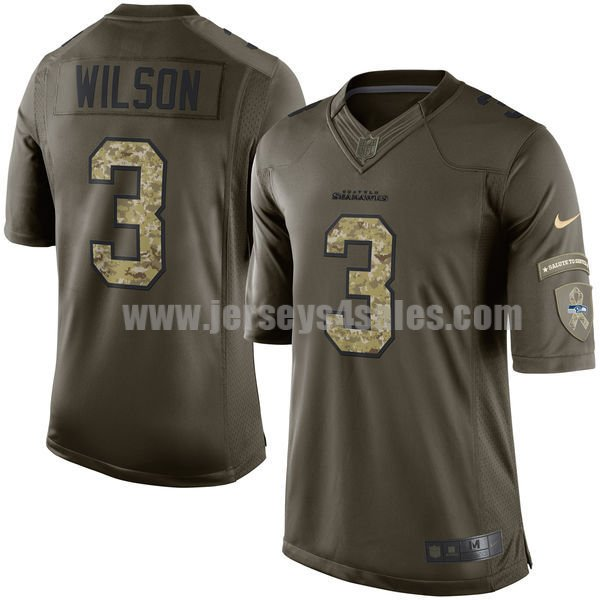 Men's Seattle Seahawks #3 Russell Wilson Green Stitched Nike NFL Salute To Service Limited Jersey