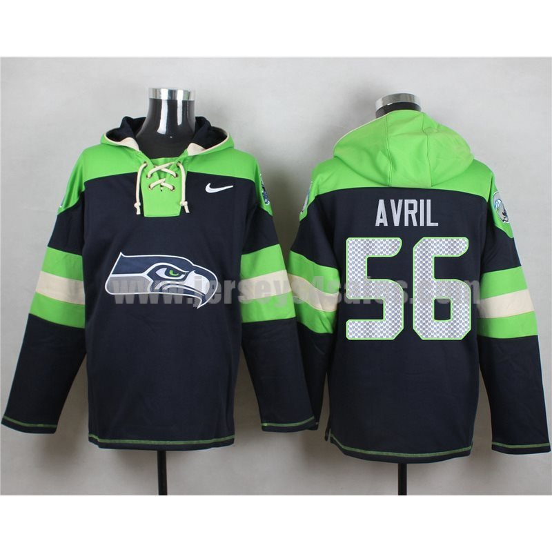 Men's Seattle Seahawks #56 Cliff Avril Big Logo Lace-Up NFL Hoodie - Navy Blue