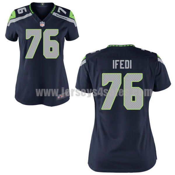 Women's Seattle Seahawks #76 Germain Ifedi Navy Blue Stitched Nike NFL Home Elite Jersey