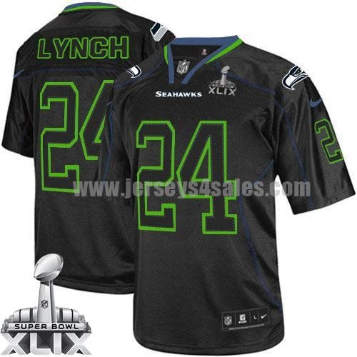 Nike Seahawks #24 Marshawn Lynch Lights Out Black Super Bowl XLIX Men's Stitched NFL Elite Jersey