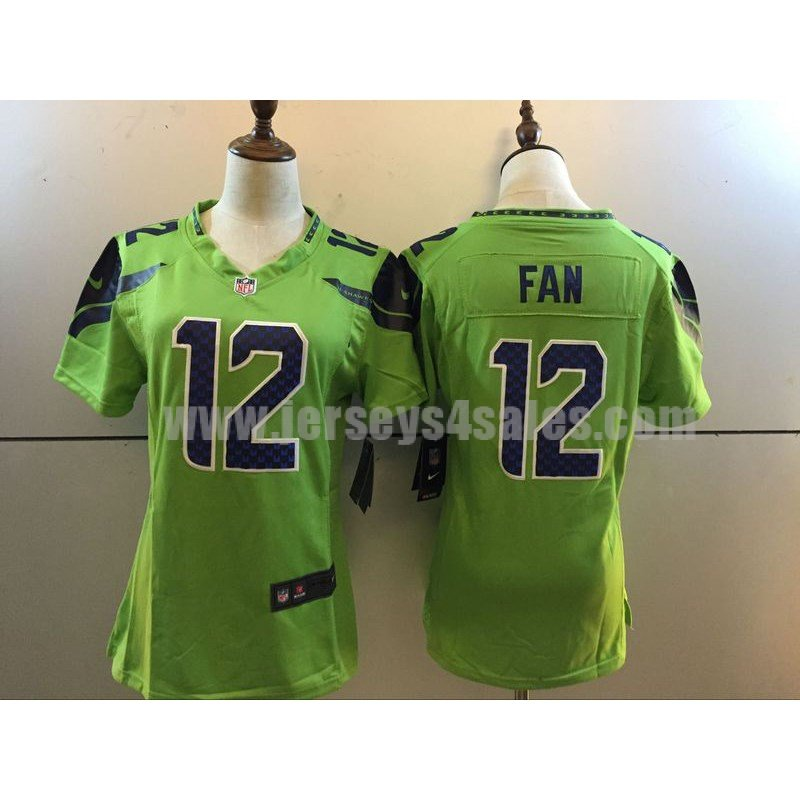 Women's Seattle Seahawks #12 12th Fan Green Stitched Nike NFL Color Rush Limited Jersey