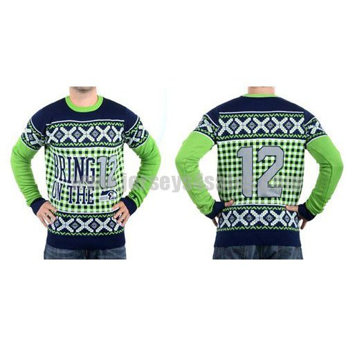 Men's Seattle Seahawks Klew Navy Blue Slogan Crew NFL Knit Ugly Sweater