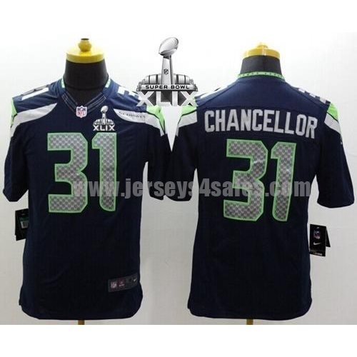 Nike Seahawks #31 Kam Chancellor Steel Blue Team Color Super Bowl XLIX Men's Stitched NFL Limited Jersey