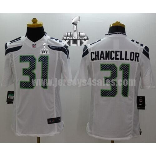 Nike Seahawks #31 Kam Chancellor White Super Bowl XLIX Men's Stitched NFL Limited Jersey