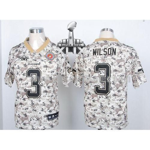 Nike Seahawks #3 Russell Wilson Camo USMC Super Bowl XLIX Men's Stitched NFL Elite Jersey