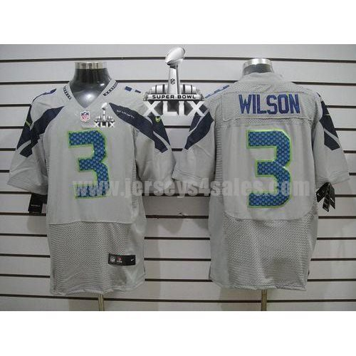 Nike Seahawks #3 Russell Wilson Grey Alternate Super Bowl XLIX Men's Stitched NFL Elite Jersey