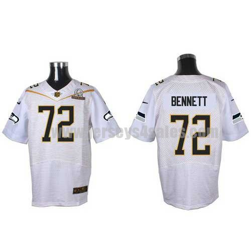 Men's Seattle Seahawks #72 Michael Bennett White Stitched Nike NFL 2016 Pro Bowl Elite Jersey