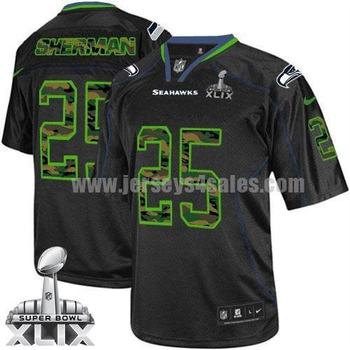 Nike Seahawks #25 Richard Sherman Black Super Bowl XLIX Men's Stitched NFL Elite Camo Fashion Jersey