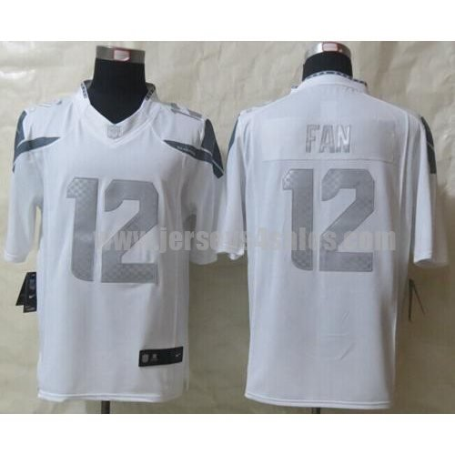 Nike Seahawks #12 Fan White Men's Stitched NFL Limited Platinum Jersey
