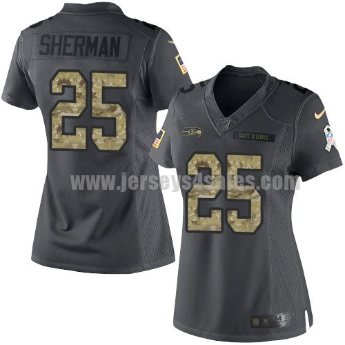 Women's Seattle Seahawks #25 Richard Sherman Anthracite Stitched Nike NFL 2016 Salute To Service Limited Jersey