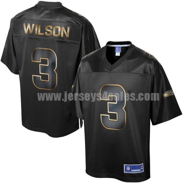Men's Seattle Seahawks #3 Russell Wilson Black NFL Pro Line Gold Collection Jersey