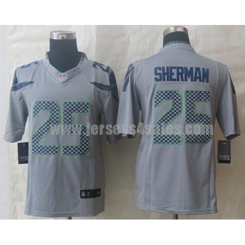 Nike Seahawks #25 Richard Sherman Grey Alternate Men's Stitched NFL Limited Jersey