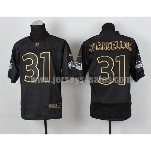 Nike Seahawks #31 Kam Chancellor Black Gold No. Fashion Men's Stitched NFL Elite Jersey