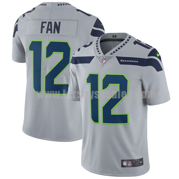 Men's Seattle Seahawks #12 12th Fan Grey Nike NFL Vapor Untouchable Limited Jersey