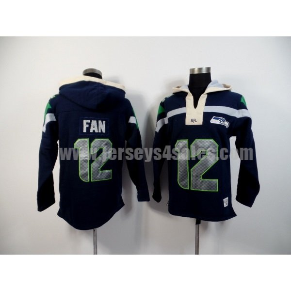 Men's Seattle Seahawks #12 12th Fan Navy Blue Team Color New Pullover NFL Hoodie