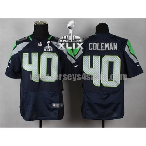 Nike Seahawks #40 Derrick Coleman Steel Blue Team Color Super Bowl XLIX Men's Stitched NFL Elite Jersey