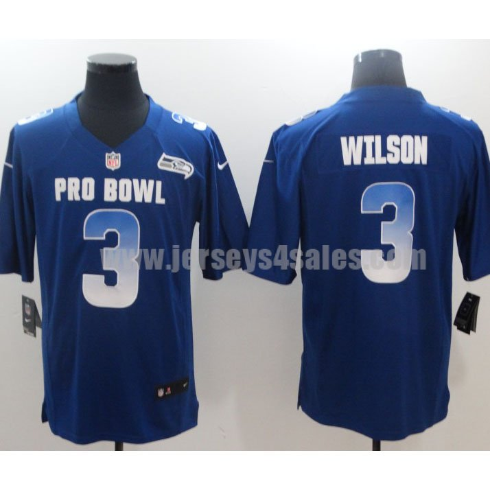 Men's Nike Seattle Seahawks #3 Russell Wilson NFC Royal 2019 Pro Bowl Limited Jersey