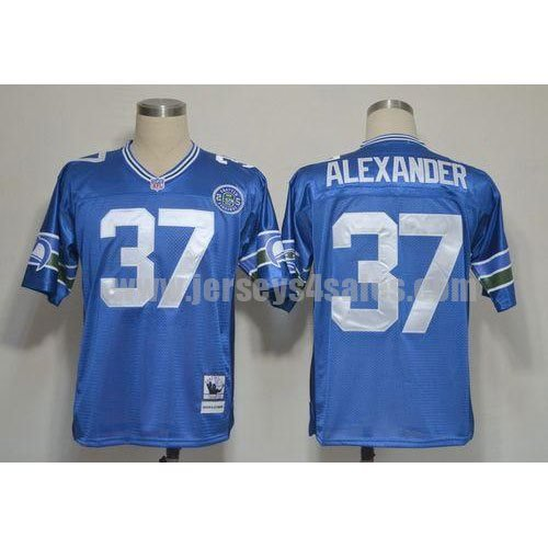 Mitchell And Ness Seahawks #37 Shaun Alexander Blue Stitched Throwback NFL Jersey