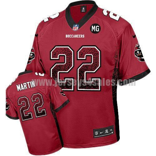Nike Buccaneers #22 Doug Martin Red Team Color With MG Patch Men's Stitched NFL Elite Drift Fashion Jersey