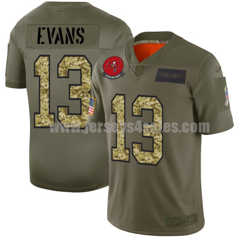 Men's Tampa Bay Buccaneers #13 Mike Evans Nike 2019 Olive/Camo Salute to Service Limited Jersey