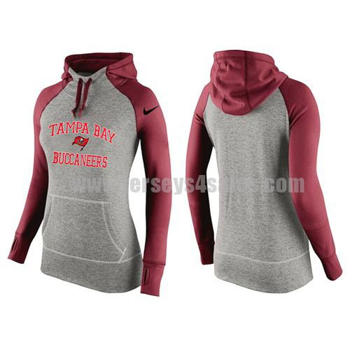 Women's Tampa Bay Buccaneers Grey/Red Signature Blue All Time Performance NFL Hoodie