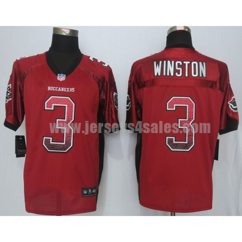 Men's Tampa Bay Buccaneers #3 Jameis Winston Red Team Color Drift Fashion Nike NFL Elite Jersey