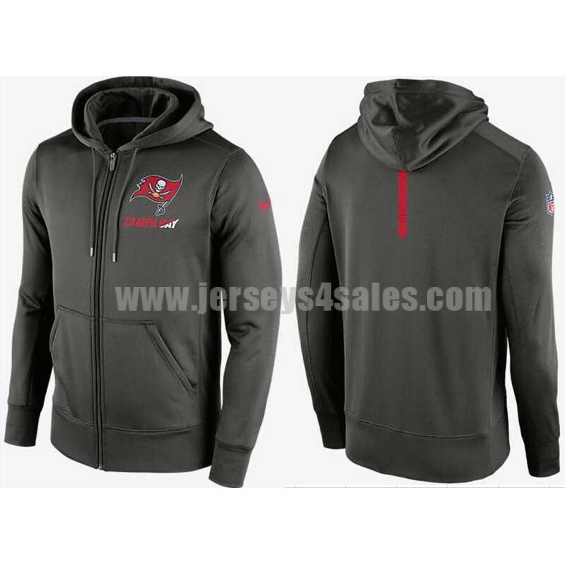 Men's Tampa Bay Buccaneers Charcoal Sideline Full-Zip Performance Nike NFL Hoodie