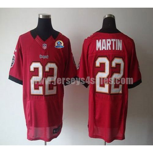 Nike Buccaneers #22 Doug Martin Red Team Color With Hall of Fame 50th Patch Men's Stitched NFL Elite Jersey
