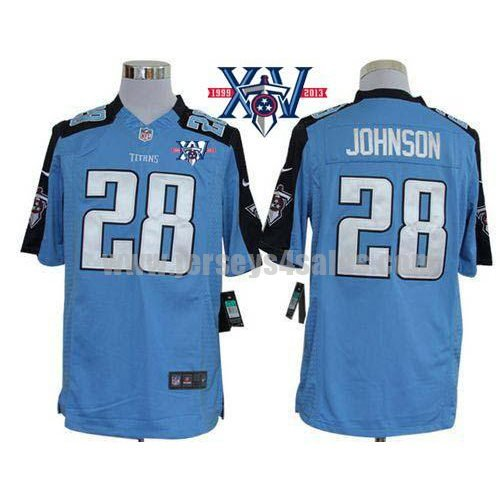 Nike Titans #28 Chris Johnson Light Blue Team Color With 15th Season Patch Men's Stitched NFL Limited Jersey