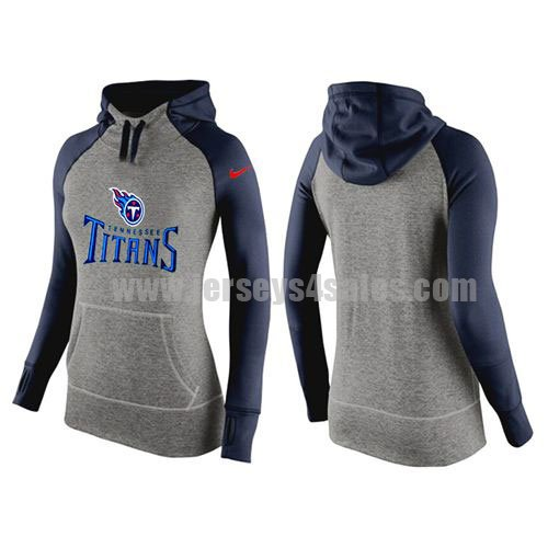 Women's Tennessee Titans Grey/Navy Blue All Time Performance NFL Hoodie