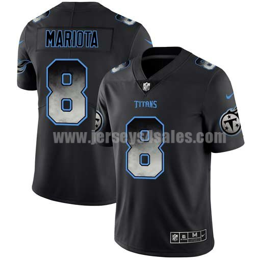 Men's Tennessee Titans #8 Marcus Mariota NFL Teams Black Smoke Fashion Limited Jersey