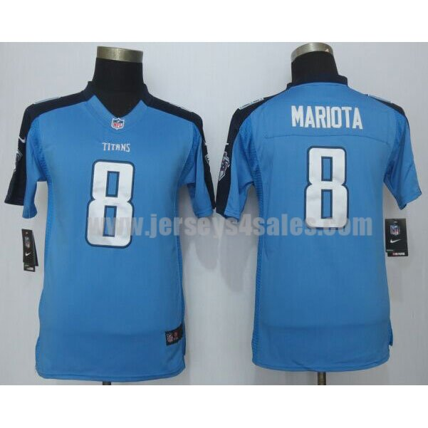 Youth Tennessee Titans #8 Marcus Mariota Blue Team Color Nike Stitche NFL Limited Jersey